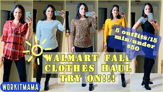 WALMART FALL FASHION HAUL AND TRY ON | AFFORDABLE CLOTHES | 5 OUTFITS/15 MIN/$50 ONLY!