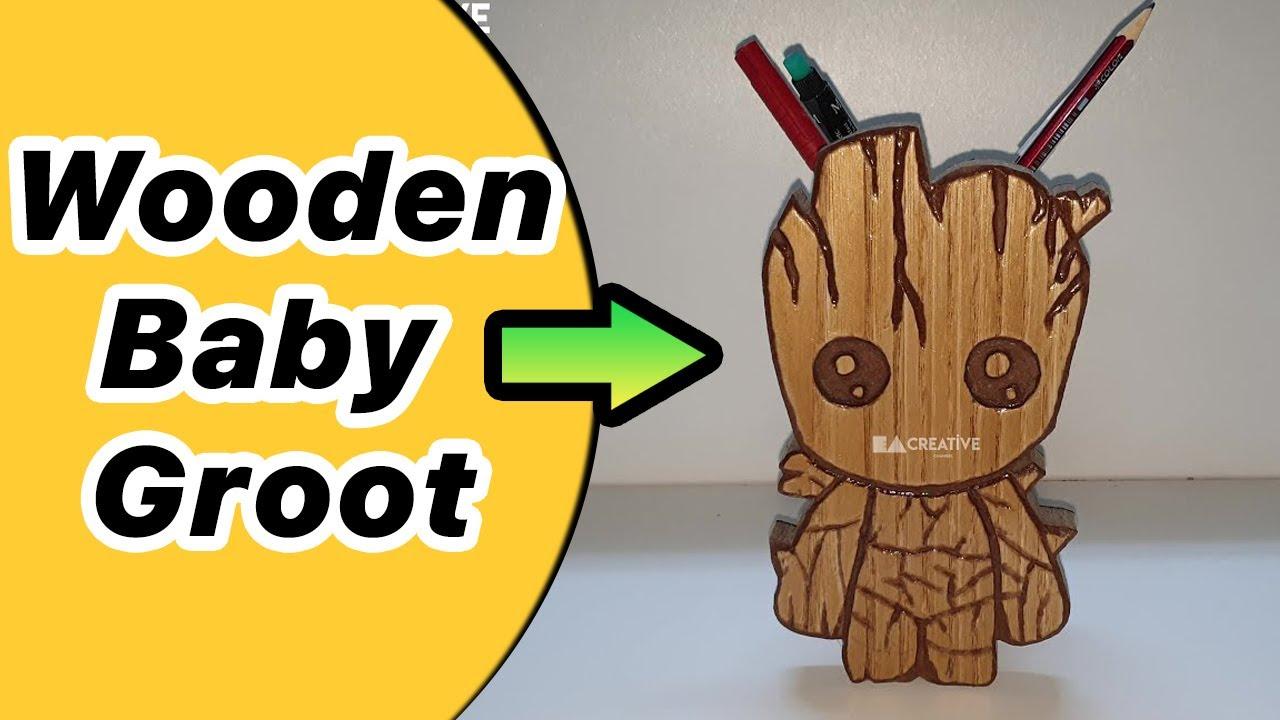 Ağaç Adam Figürlü Oyma Kalemlik Yapımı Baby Groot 4k