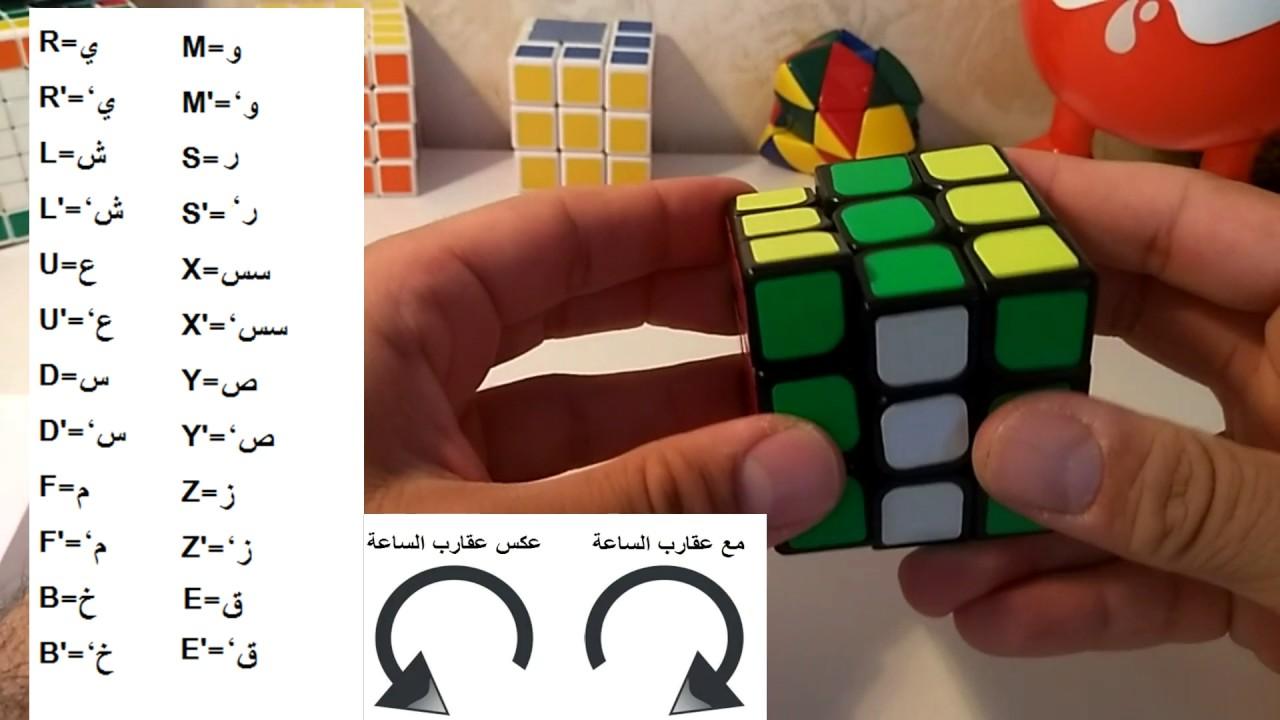 رموز خوارزميات وحركات مكعب روبيك 3 3 باللغتين العربية والإنجليزية Arabic Rubik Cube Notation Youtube