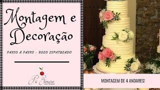 MONTAGEM DE BOLO DE ANDARES PASSO A PASSO + DECORAÇÃO BUTTERCREAM ESPATULADO RÚSTICO