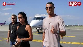 Cristiano Ronaldo alivyowasili Turin na private jet