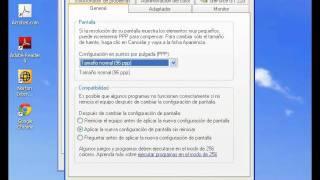 Cambiar resolución y refresco de la pantalla en windows XP