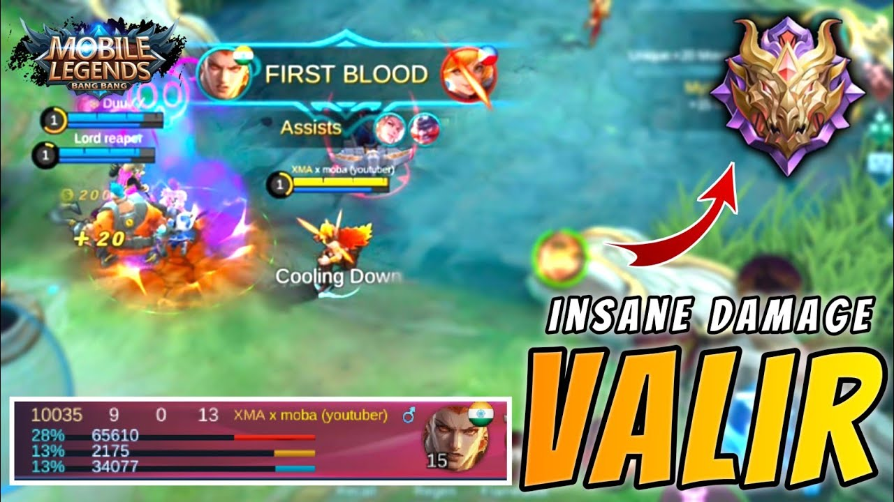 Valir 20 Insane Damage Op Gameplay And Build By Top Global Valir X Moba ~  Mobile Legends