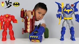 Batman Gauntlet Vs Iron Man Blaster Toys Unboxing With Ultimate Bat-Mech And Hulkbuster Ckn Toys