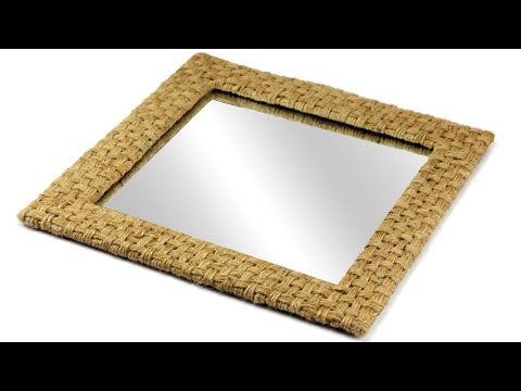 DIY Woven Jute Wall Hanging Mirror with Jute Rope and Cardboard | DIY Wicker Mirror Showpiece