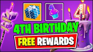Fortnite 4th Birthday Event - ALL FREE REWARDS & CHALLENGES (New Update)