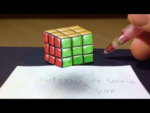 Comment Dessiner Un Rubik S Cube 3d Illusion Tutoriel Youtube