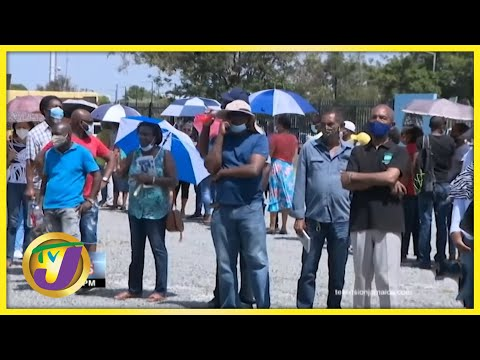 Chaos at Jamaica's Vaccination Blitz Site   TVJ News - June 19 2021