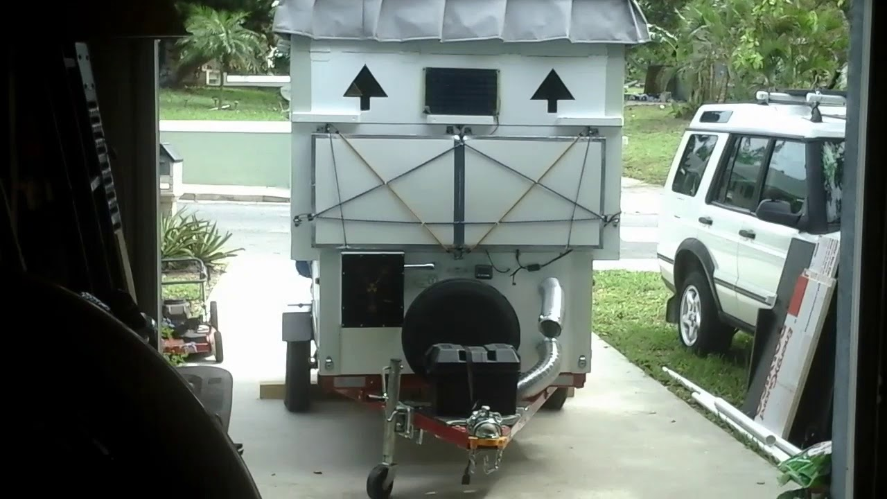 folding micro camper on harbor freight trailer part 2 youtube
