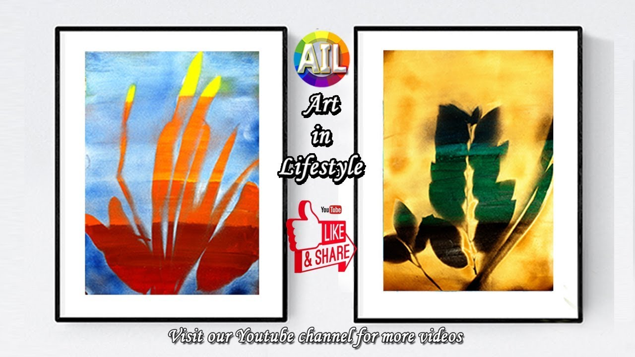 Art of Painting #Lifestyle #Spray Painting Leaves Silhouette on Canvas with  Shades of Painting