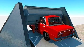RUSSIAN INDEPENDENT CARS #1 Giant Machine crash.Truck & School Bus. BeamNG Drive CARSDI