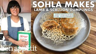 Sohla Makes Lamb & Scallion Dumplings | From the Home Kitchen | Bon Appétit