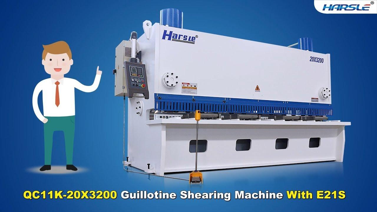 QC11K-20X3200 Hydraulic Guillotine shear E21S, HARSLE 20mm MS plate cutting  machine