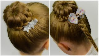 2 in 1 - Lace Braided Bun. Quick and Easy hairstyle for little pricess #42
