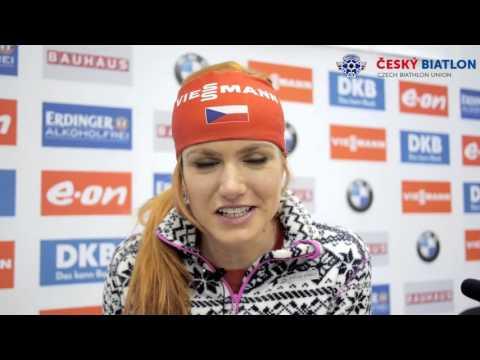 Габриэла Соукалова благодарит биатлонных фанатов Ханты Мансийск 2016