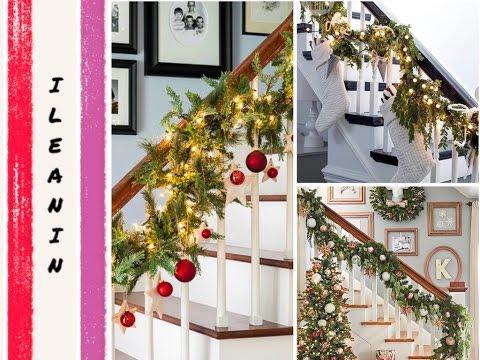 Decoracion de escaleras para navidad christmas staircase for Adornos navidenos para escaleras