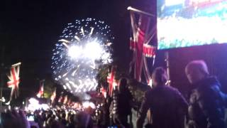 Fire works at queen's jubilee celebration