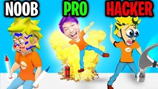 Can We Go NOOB vs. PRO vs. HACKER In PRANK MASTER 3D?! (ALL LEVELS!)