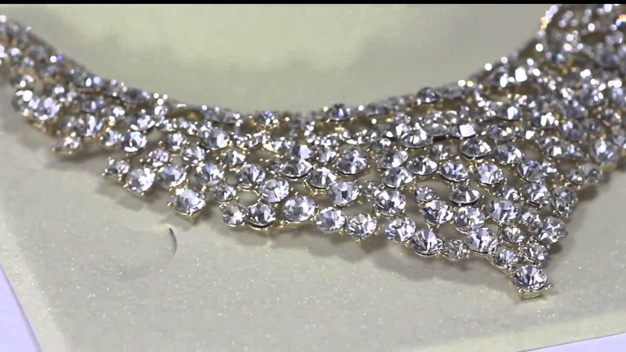 Prom Jewelry Greek Key Heart Rhinestone Bridal Necklace Earring Set