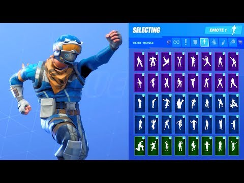ALPINE ACE SKIN SHOWCASE WITH ALL FORTNITE DANCES & EMOTES