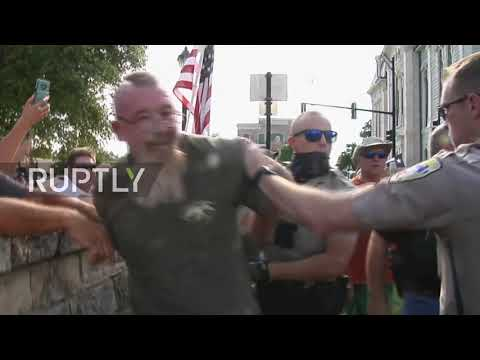 USA: Clashes Erupt At BLM Protest For Confederate Statue Removal In Weatherford