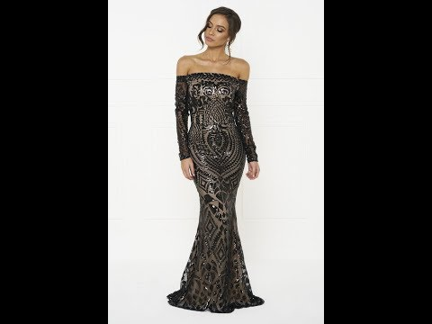 Honey Couture MISHKA Black Sequin Formal Gown Dress