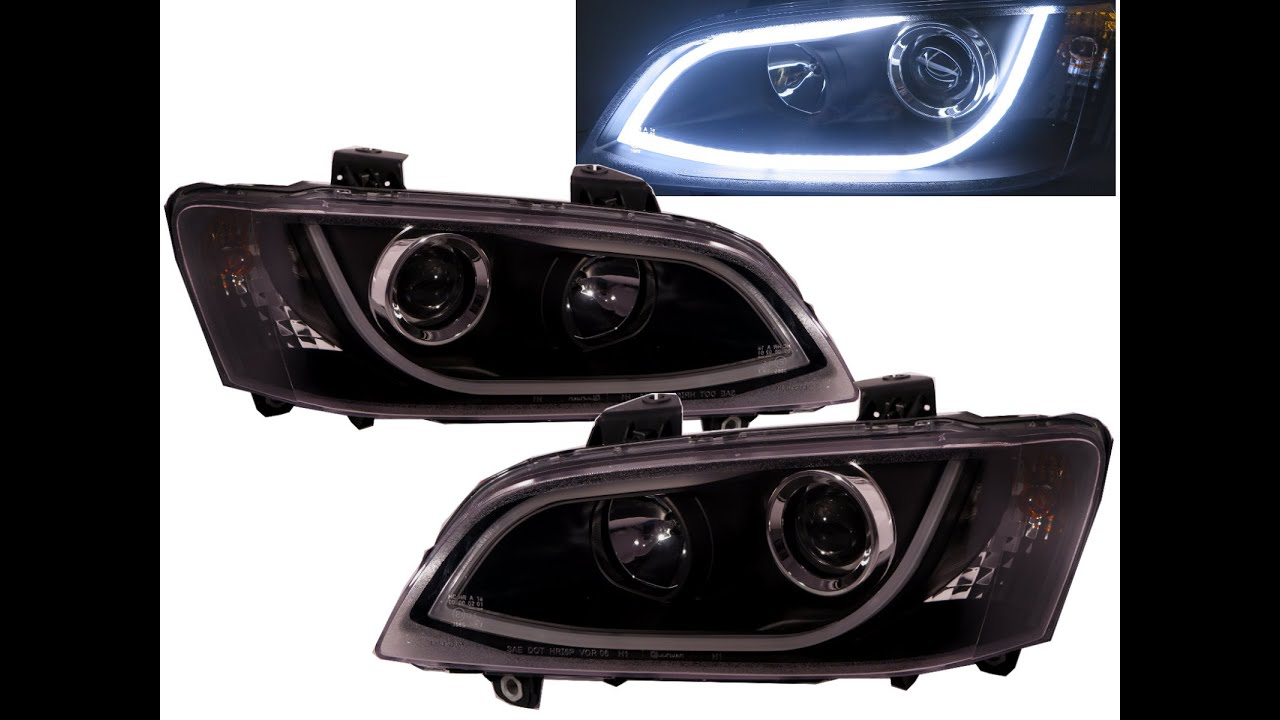 Commodore ve 2006 2013 hsv projector headlight led drl r8look commodore ve 2006 2013 hsv projector headlight led drl r8look black for holden ss sv6 sv8 ssv omega youtube vanachro Choice Image