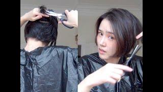 [Eng sub] 自己剪短发cut your own hair短发再剪短