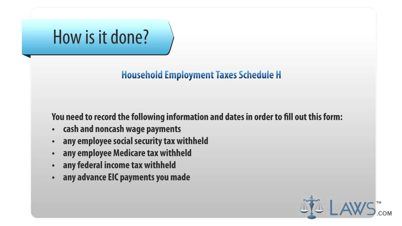 Household employment taxes schedule h youtube household employment taxes schedule h falaconquin