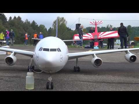 AIRBUS A-340 RC AIRLINER IN HAUSEN SWITZERLAND BIGGEST RC EVENT