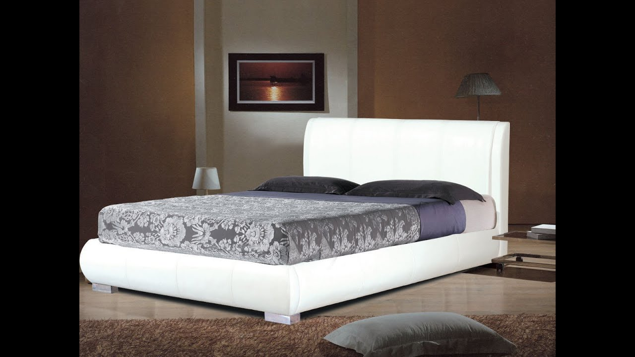 Faux Leather Bed Frames In Black Brown White