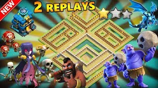 TH12 WAR BASE 2018 ANTI 2 STAR With 2 Replays Anti BoWitch,LaVaLooN,Electro Dragon,Anti Queen Walk