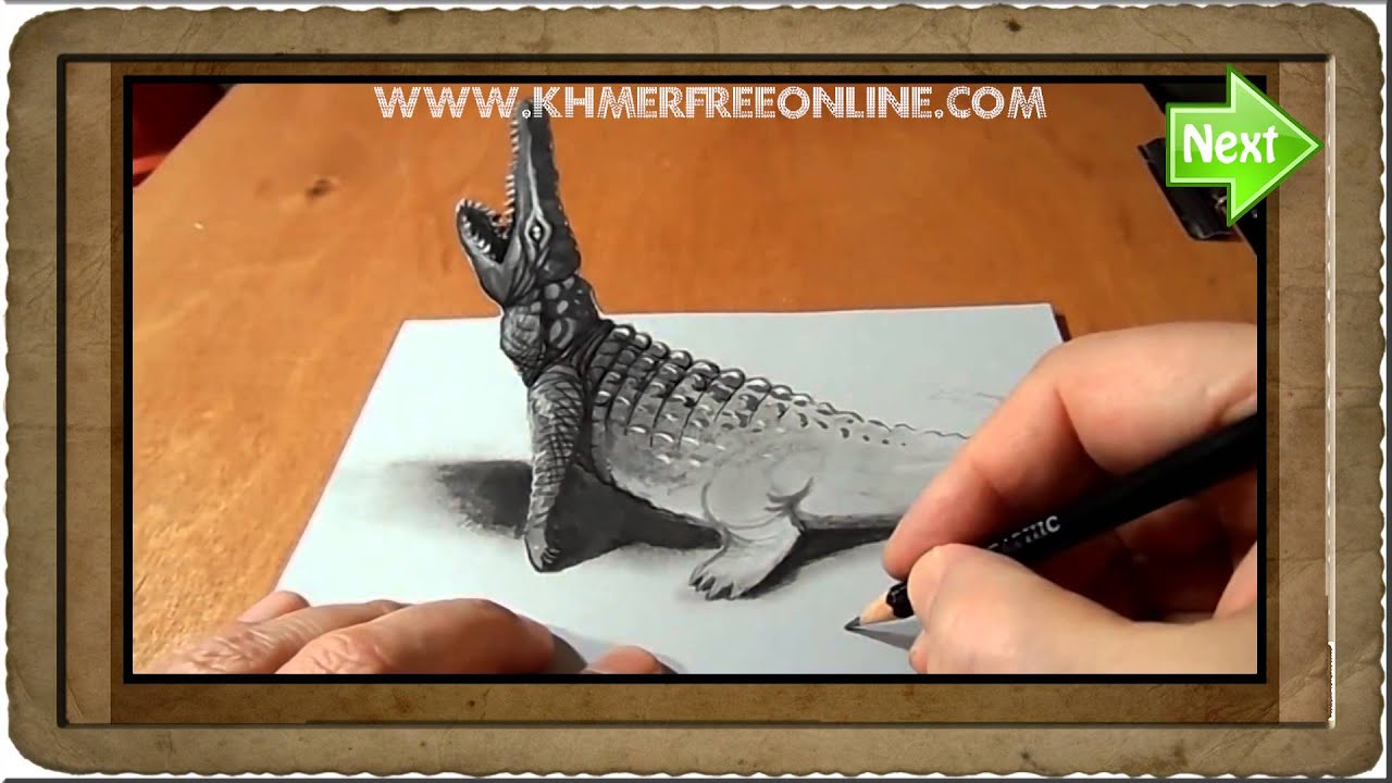 Drawing 3d | trick art drawing 3d | Crocodile 3d drawing