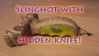 Handmade Slingshot With Hidden Knife - Shooting