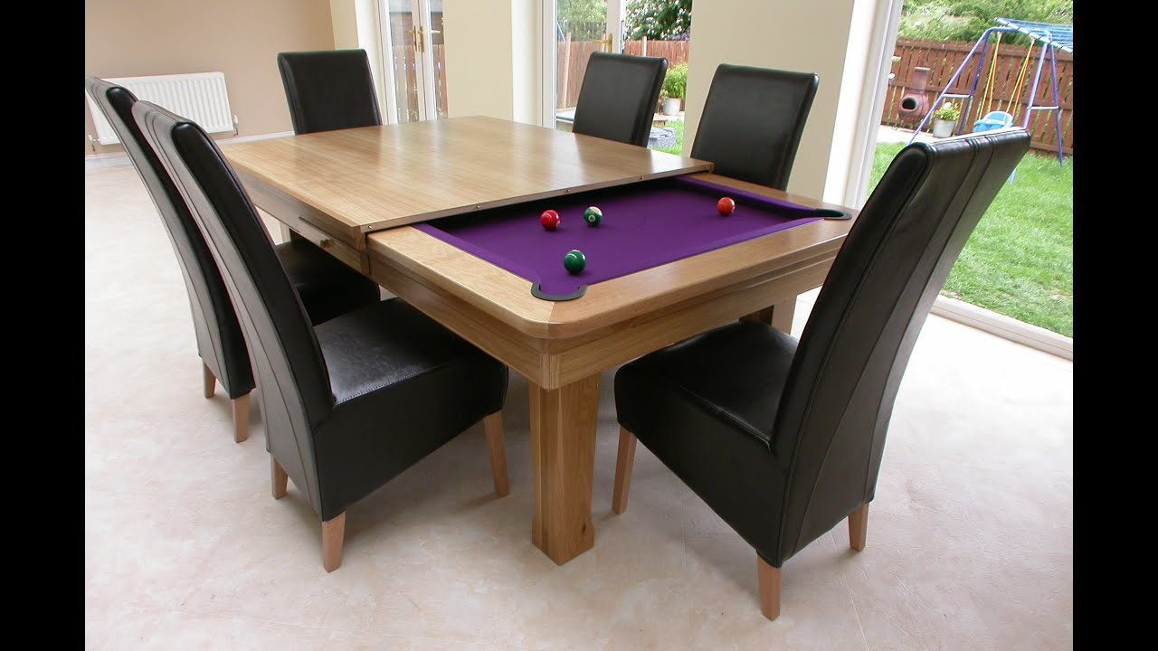 Awesome pool table dining table combo youtube Pool dining table
