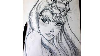 Drawing Fan Art of J. Scott Campbell. By Leidy Chaux Lm