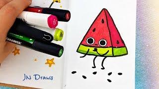 Как Нарисовать Арбузик Простые Рисунки В Скетчбук, Личный Дневник Как Рисовать В Стиле Каваии