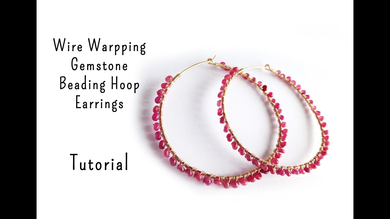 Gemstone Wire Wrapped Hoop Earrings Tutorial by Mbeadstore - YouTube