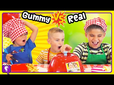 GUMMY vs REAL COMPILATION 90 Minutes! Challenges By HobbyKids