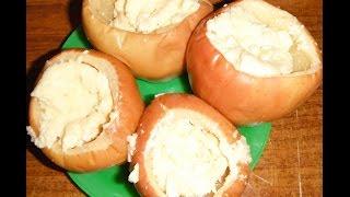 Яблоки, запечённые с творогом в микроволновке
