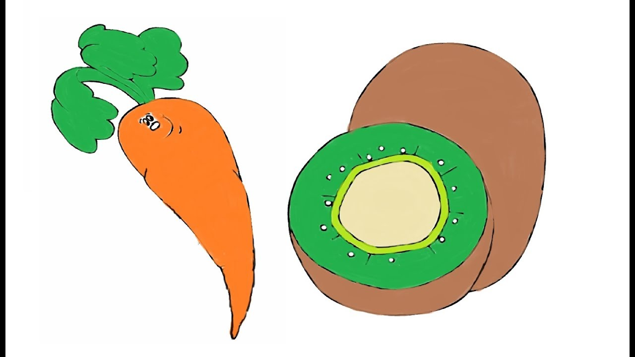 Painting Vegetable- Kiwi, Carrot | Coloring Pages for Kids | Shapes ...