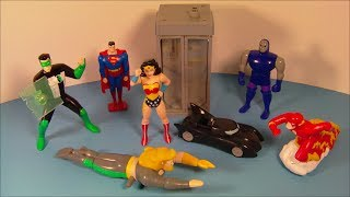 1999 DC SUPER HEROES SET OF 7 JACK-IN-THE BOX KID'S MEAL TOY'S VIDEO REVIEW
