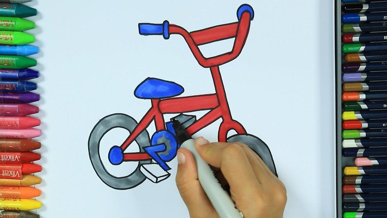 как нарисовать велосипед раскраски детей Hd рисование и окраска рисование для детей