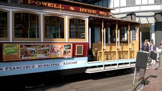 San Francisco! Famous CABLE CAR changing direction in Powell transit stop!