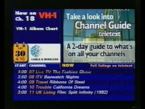 Cable TV Channel Guide, Saturday 30th August 1997