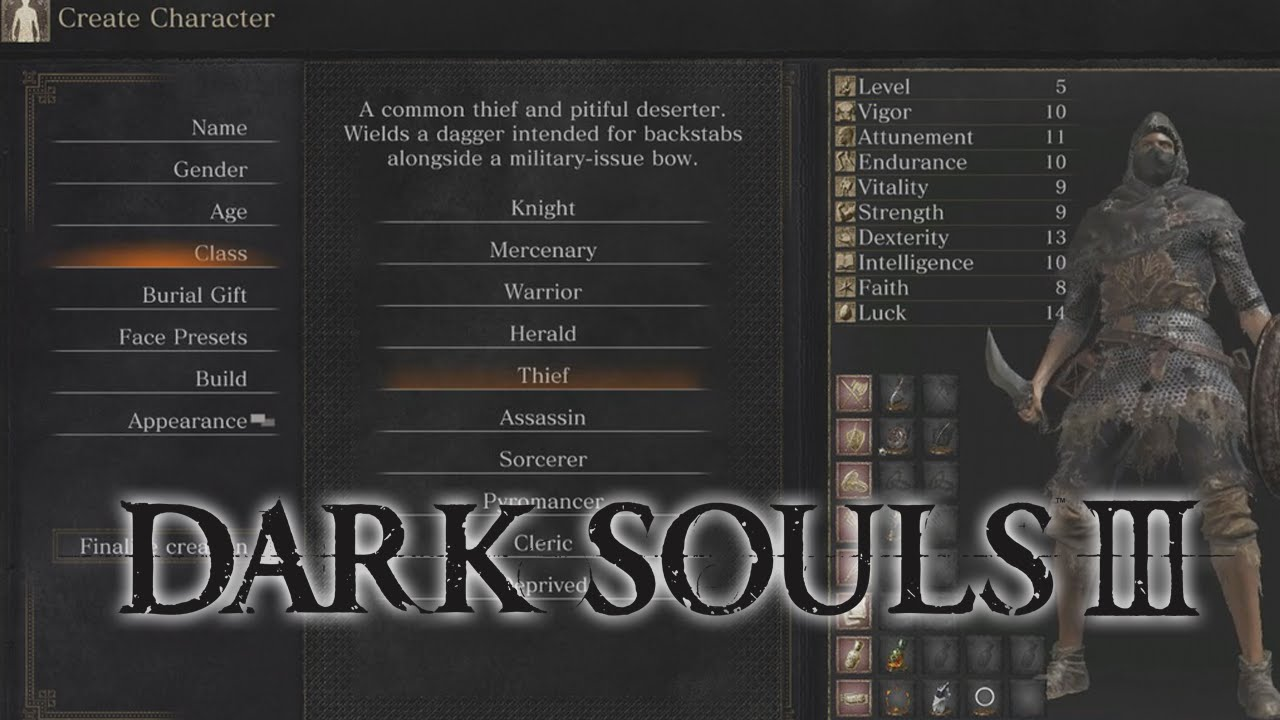 Dark Souls 3 - ALL Class Stats & Descriptions - YouTube