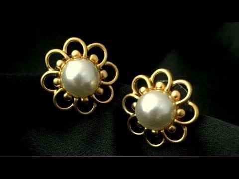 Light Weight Pearl And Gold Earrings Designs