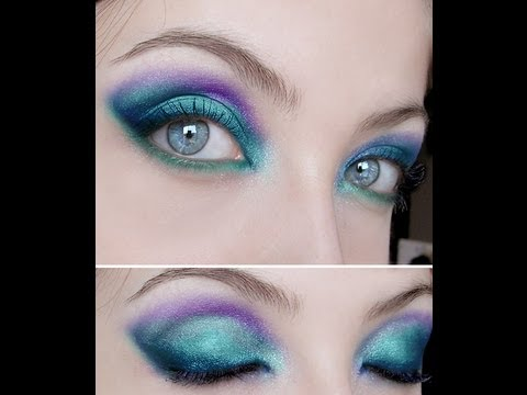 pluto turquoise blue green purple make up tutorial youtube. Black Bedroom Furniture Sets. Home Design Ideas