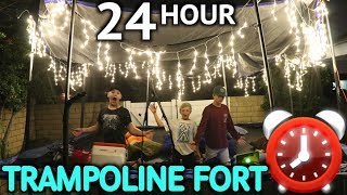 24HR OVERNIGHT IN TRAMPOLINE FORT! (we get attacked)