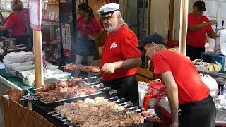 Huge Lot of Meat Skewers, Beef, Pork and Chicken. Minsk Street Food, Belarus